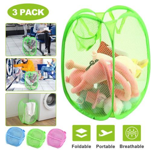 3Pcs Pop-Up Laundry Hampers Foldable Mesh Hamper