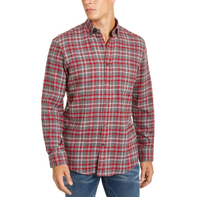 Club Room Men's Flannel Shirt Gray Size Small