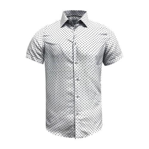 Monza Modern Fit Short Sleeve White Polka Dot Dress Shirt