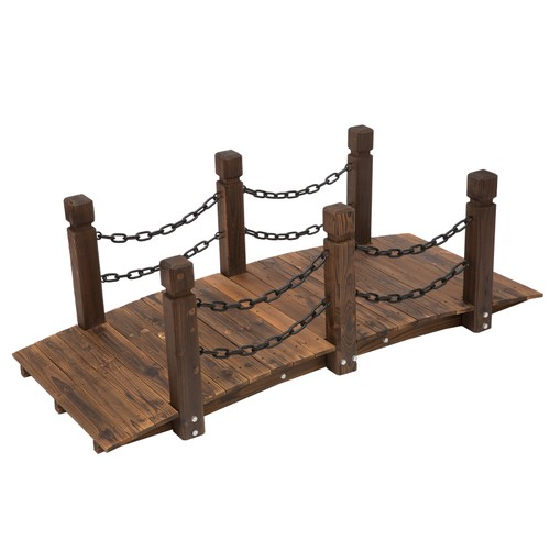 Wooden Garden Bridge Arc Stained Finish Walkway with Metal Chain Railings