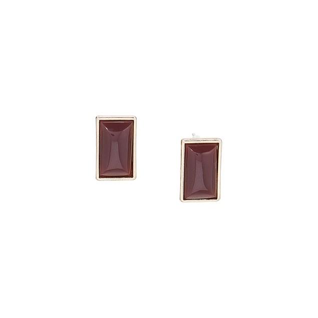 Quartz Rectangle Stud Earrings