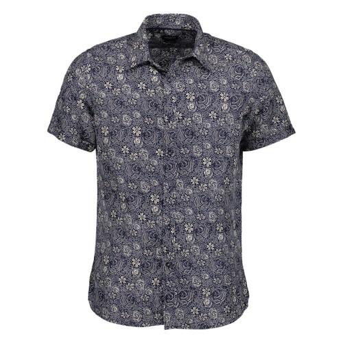 Rosso Milano Modern Fit Short Sleeve Grey Paisley Dress Shirt
