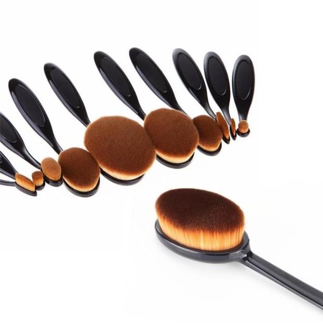 11PCS Toothbrush Eyebrow Foundation Eyeliner Lip Oval Brushes