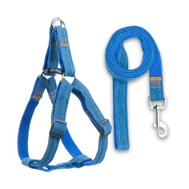 Denim Harness for Dogs and Cats. Sturdy Comfortable Fit & Performance