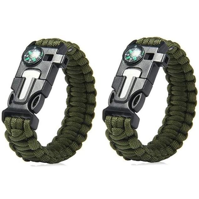 2Pack Paracord Sports Bracelet Waterproof Outdoor Adjustable Emergency