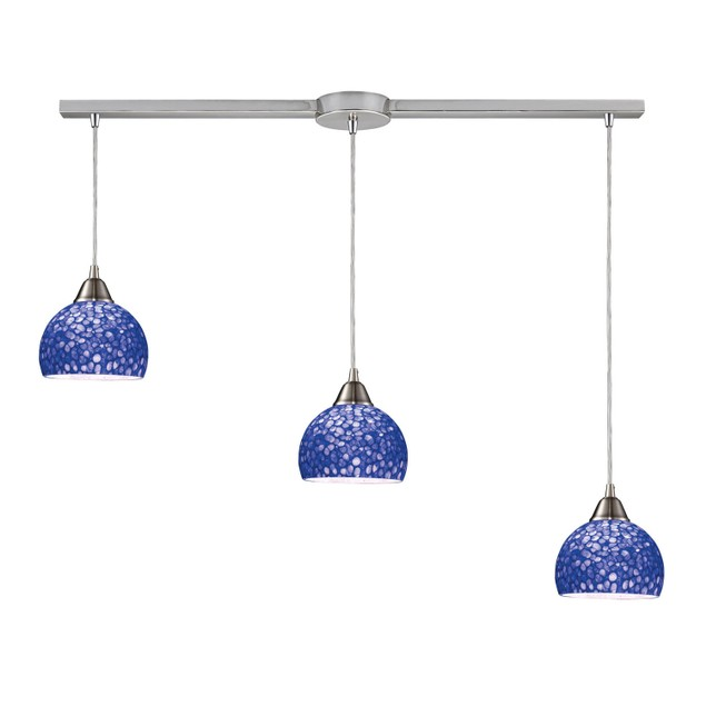 """Cira 3 Light Pendant In Satin Nickel With Pebbled Blue Glass - 36""""L"""