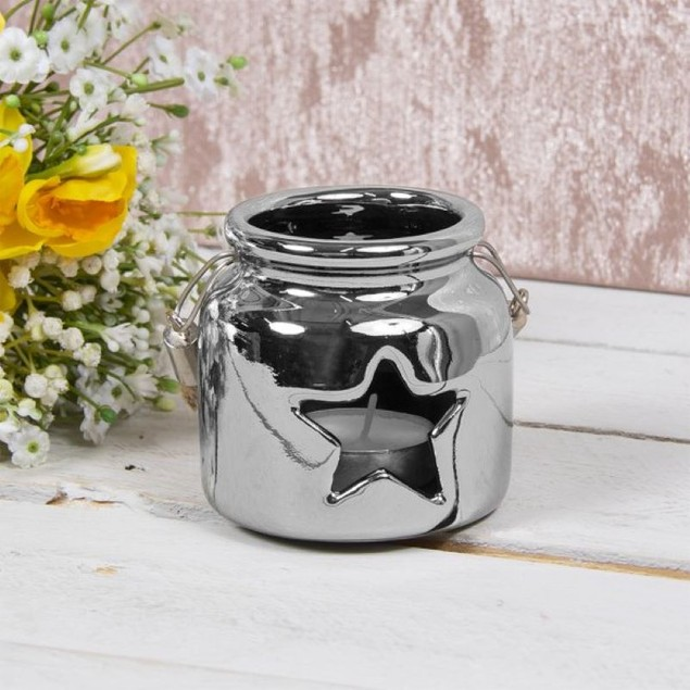 Star Ceramic Candle Holder Silver 8cm By Lesser and Pavey