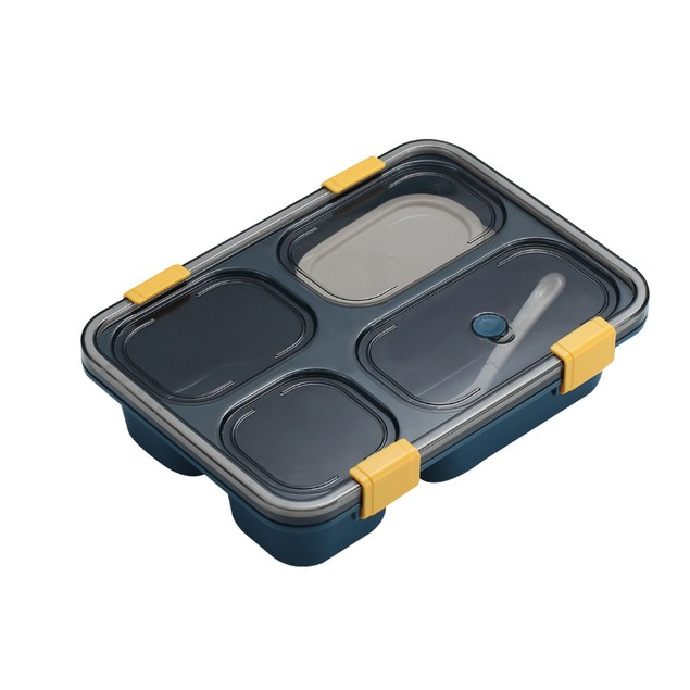 Plastic Four-part Lunch Box Student Portable Microwaveable Lunch Box With Tableware Adult Lunch Box
