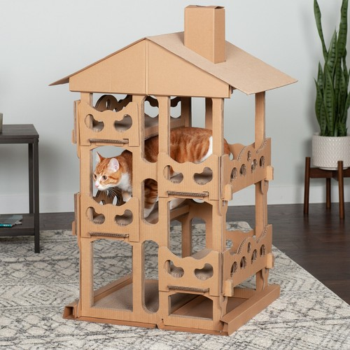 FurHaven Tower Playground Corrugated Cat Scratcher House with Catnip