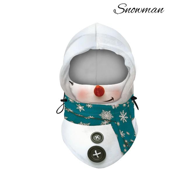 Adult Christmas Fleece Mask Neck Warmer With Adjustable Hood