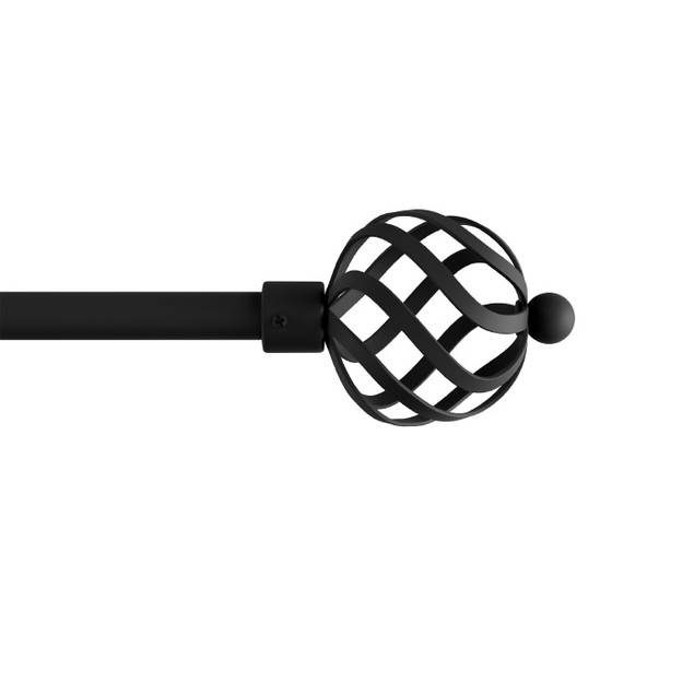Curtain Rod- Decorative Twisted Sphere Finials & Hardware 48-84-Inch