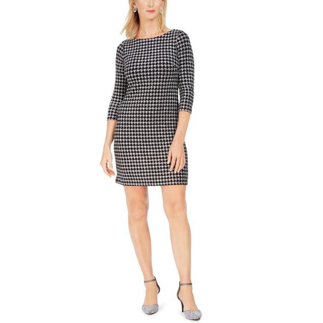 Jessica Women's Howard Glitter Houndstooth Sheath Dress Silver Size 12