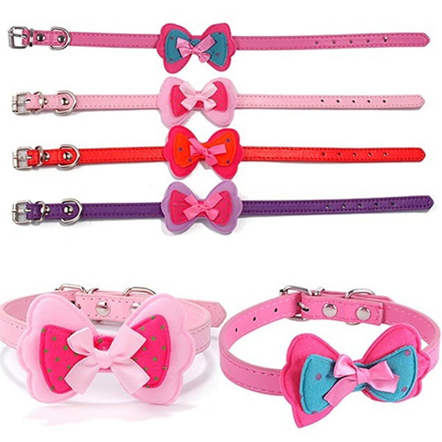 Cat Dog Cute Polka Dot Bowknot  Faux Leather Pet Choker Collar Pet Supplies