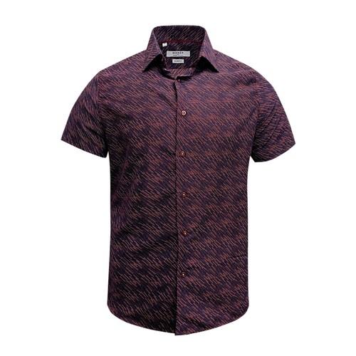 Monza Modern Fit Short Sleeve Burgundy Twill Floral Dress Shirt