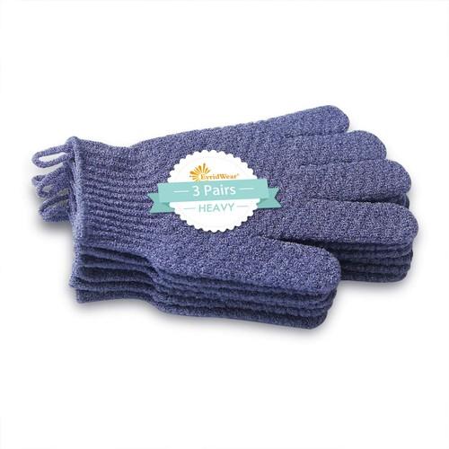 3 Pairs Heavy Gloves-EvridWear Exfoliating Dual Texture Bath Gloves