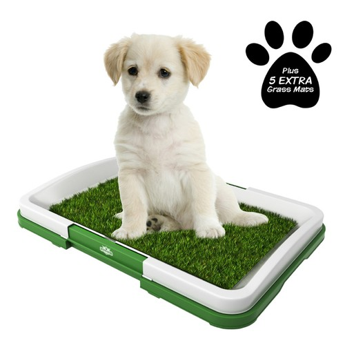 Puppy Potty Trainer- Artificial Grass Mat, Tray & 5 Extra Turf Pads