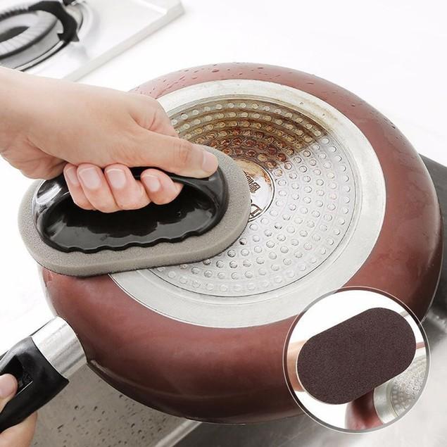 Emery Sponge Brush Eraser Scrub Handle Grip Sink Pot Bowl Kitchen