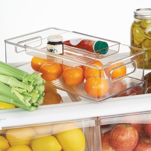 mDesign 2 Piece Plastic Stackable Kitchen Pantry Organizer - Clear