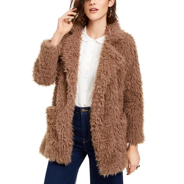 Sage The Label Women's Penny Lane Shaggy Faux-Fur Coat Brown Size Large