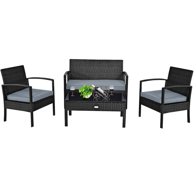 Costway 4PCS Outdoor Patio Rattan Furniture Set Cushioned Sofa Coffee Table