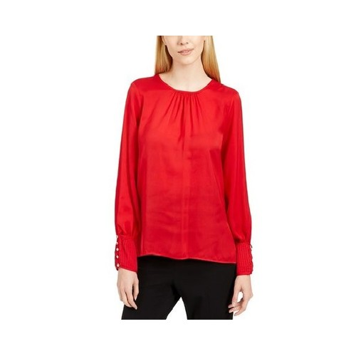 Calvin Klein Women's Woven Top Red Size Extra Large