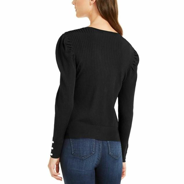 INC International Concepts Women's Puff-Sleeve Cardigan Black Size Large
