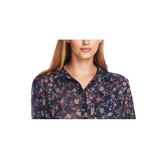 Vince Camuto Women's Ditsy Floral Shirred Shoulder Blouse Blue Size Small