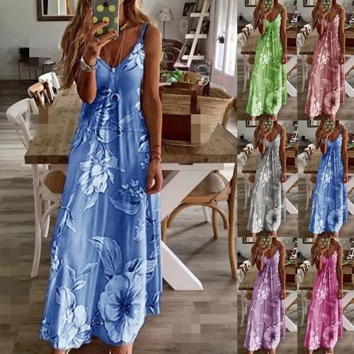 Long Floral Suspender Dress