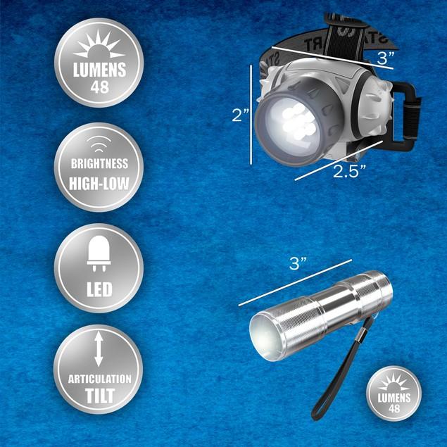 LED Headlamp, Adjustable Headband and Flashlight Set, Battery Operated