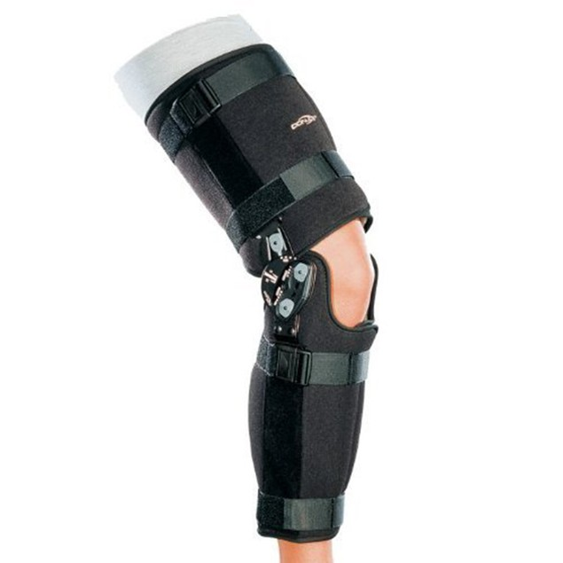 Donjoy FastFit TROM Knee Brace, Easy-to-Use Hinge, Small, Black