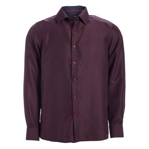 Rosso Milano Modern Fit Long Sleeve Burgundy Twill Dress Shirt