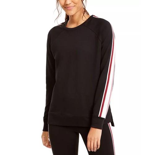 Ideology Women's Varsity Stripe French Terry Sweatshirt Black Size X-Small