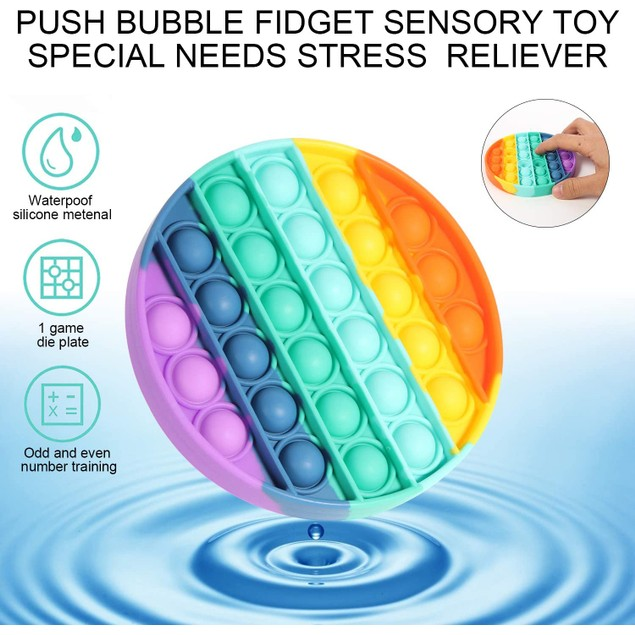 2-Pack Push pop pop Bubble Sensory Fidget Toy-Silicone Squeeze Stress Reliever Toy