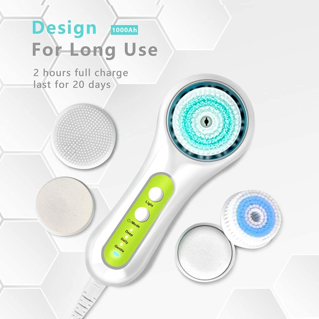 Facial Cleansing Brush,Rechargeable IPX7 Waterproof with 5 Brush Heads for Exfoliating, Massaging and Deep Cleansing Green
