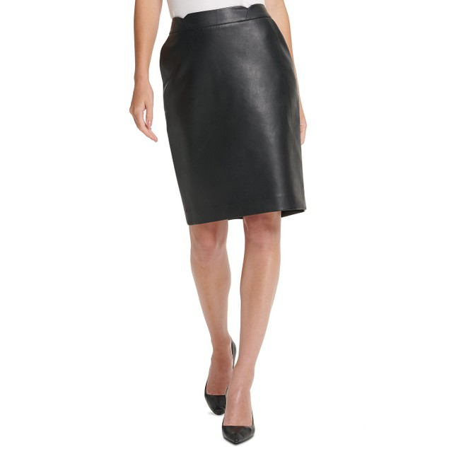 DKNY  Women's Petite Faux-Leather Pencil Skirt Black Size 1