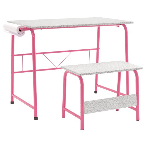 Offex Project Center, Kids Craft Table with Bench Gray