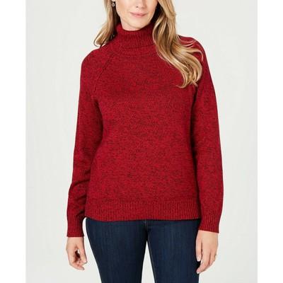 Karen Scott Women's Marled Cotton Turtleneck Sweater Red Size X-Large