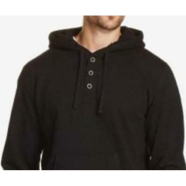 Weatherproof Vintage Men's Textured Henley Hoodie Black Size Small