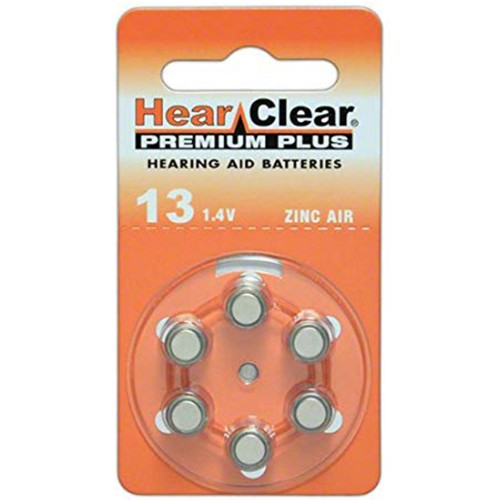 Hearclear Size 13 MF Zinc Air Hearing Aid Batteries (60 pack)
