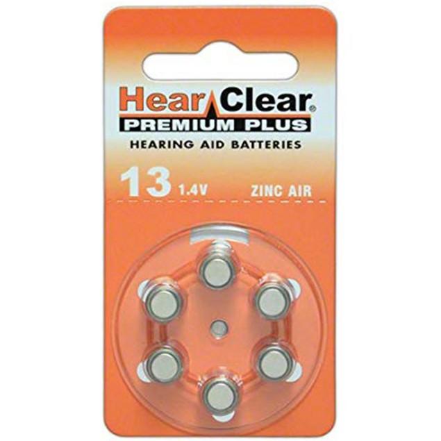 Hearclear Size 13 MF Zinc Air Hearing Aid Batteries (60 pack)
