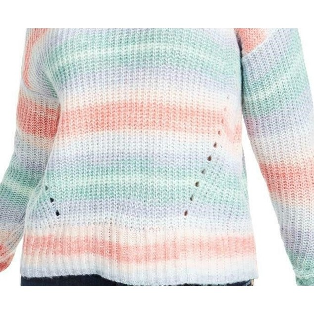 Hooked Up By Iot Juniors Women's Striped Mock-Neck Sweater Blue Size Large