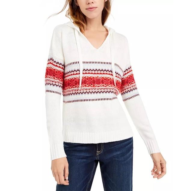 American Rag Junior's Fair Isle Hoodie Sweater White Size Medium