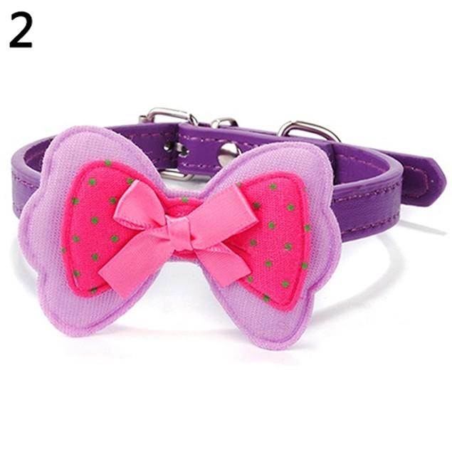 Cat Dog Cute Polka Dot Bowknot  Faux Leather Pet Choker Collar Pet Supplies