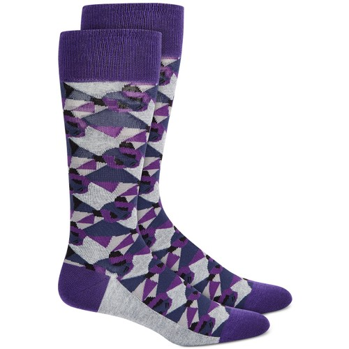 Alfani Men's Camo Panda Socks Purple Size Regular