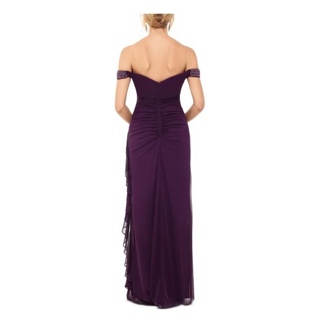 Betsy & Adam Women's Sleeveless Off Shoulder Maxi Dress Purple Size 8