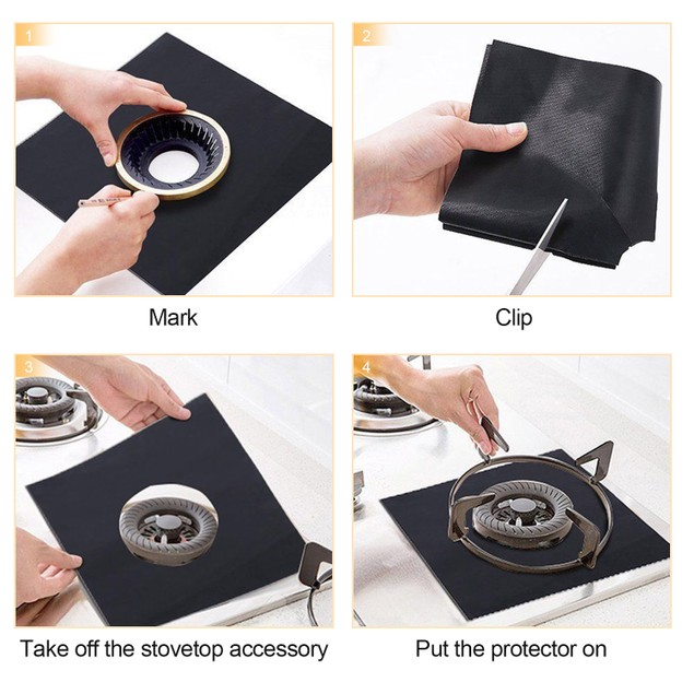 4-Pack Reusable Nonstick Stovetop Burner Protector Liner