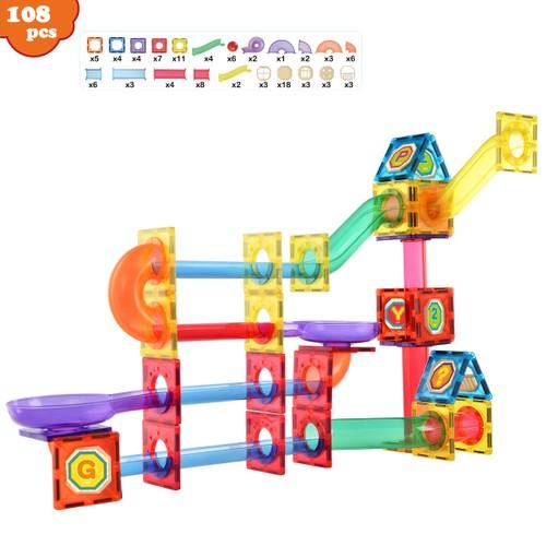 Zunammy Kids Magnetic Building Blocks Tile Fantasy Castle Set ( 108-Piece )