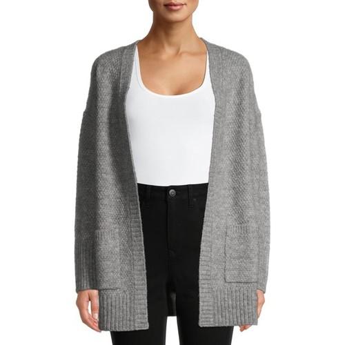 Pink Rose Women's Juniors' Open Cardigan Sweater Gray Size Small