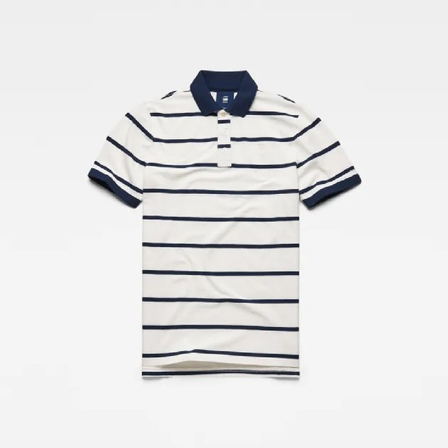 G-Star Raw Men's Fascia Striped Polo Shirt White Size Large