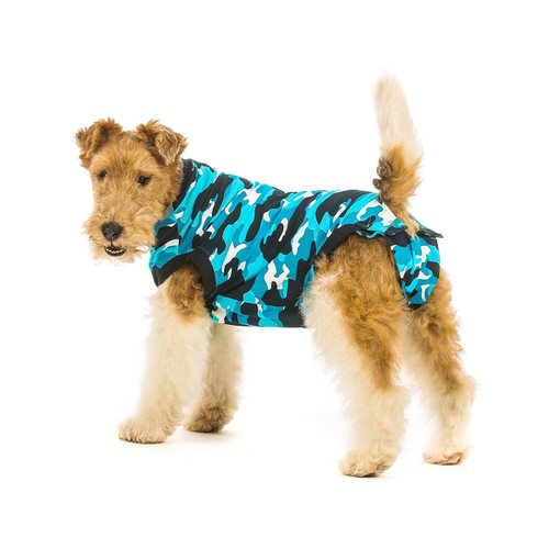 Suitical Recovery Suit for Dogs, Blue Camo, Small+ (plus)